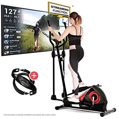 Sportstech Cyclette CX608 Ellittica da Casa. Ergometro Crosstrainer, Bluetooth, Controllo App Kinomap - Supporto per Smartphone/Tablet. Step Trainer Cyclette con Volano da 12 kg.