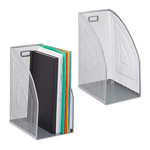 Relaxdays 2 x Stehsammler Metall, DIN A4, Stehordner breit, Mesh, Zeitschriftensammler Büro, HBT: 32 x 16 x 24,5 cm, Silber