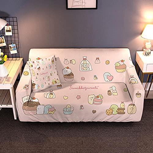 Funda para Sofá Elasticas 3 Plazas 190-230 Cm,Impresión 3D Universal Funda Cubre Sofas,Antideslizante Protector Cubierta de Muebles con 2 Funda de Almohada - Rosa, Pastel, Animal