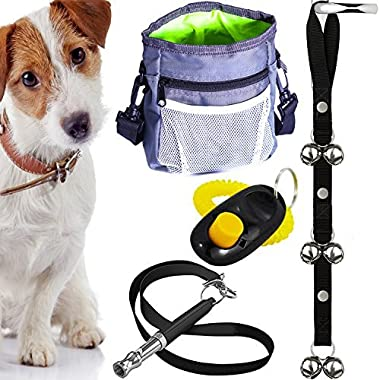 AMZpets Puppy Training Set 4 Essential Tools // Dog clicker // Doorbells for Potty Training // Ultrasonic Whistle for Teaching Commands // Pouch for Training Snacks with Poop Bag Dispenser