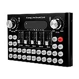 Nrpfell V8 Tarjeta de Sonido en Vivo Actualizada Tarjeta de Sonido de Mezclador de Audio Ajustable de Volumen Inteligente para Computadora Pc Sonido en Vivo
