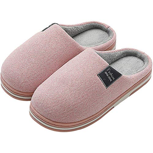 Slippers for Womens Warm Memory Foam Closed Toe on House Slippers Indoor Outdoor Non-Slip Sole Pink