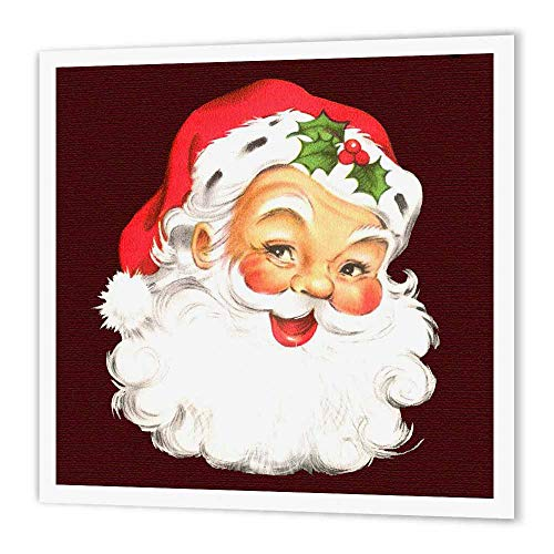 3dRose ht_172752_3 Large Happy Santa Claus Face Cartoon Iron on Heat Transfer, 10 by 10-Inch, for White Material