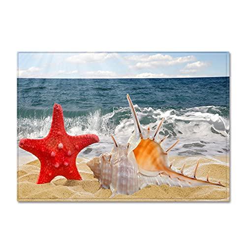 YDyun Interiores y Suaves Alfombras de Sala de Estar aptas para niños Alfombra Grande Antideslizante con patrón de Concha de Playa