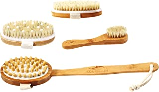 D DOLITY 5pcs/Pack Bath Body Brush with Anti-slip Long Detachable Wooden Handle, for Dry/Wet Skin