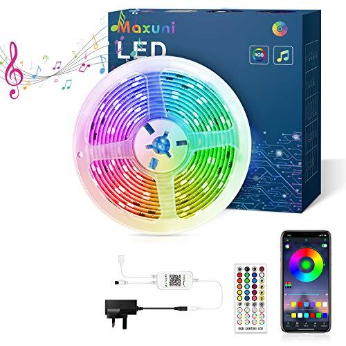 LED Strip 6m, Maxuni 5050 RGB LED Streifen mit 60 Tausend Farben und 108 LEDs, APP -Steuerung und Fernbedienung, Selbstklebende Lichterkette für Fernseher, Wohnzimmer, Schlafzimmer usw. MEHRWEG (6M)