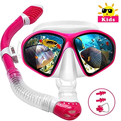Powsure Kids Snorkel Set, Dry Top Snorkel with Swim Mask, Anti-Leak Snorkeling Package of Anti-Fog Tempered Glass Diving Goggles for Children, Boys, Girls,Youth,Junior Child (Red)