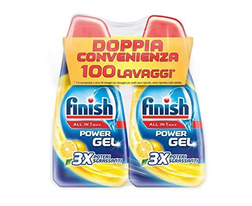 Finish Detergente para lavavajillas, 100 lavados, Powergel, 2 paquetes de 50 lavados – 2300 g