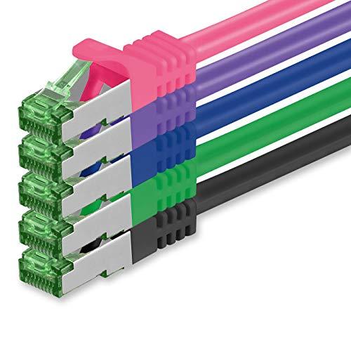 1aTTack.de Cat7 Netzwerkkabel 0,5m - 5-Farben 02-5 Stück - Cat 7 Ethernetkabel Netzwerk LAN Kabel Rohkabel 10 Gigabit s - SFTP PIMF LSZH - Patchkabel Rohkabel mit Rj 45 Stecker Cat.6a