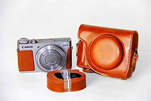 Canon G9X Case, BolinUS Premium PU Leather FullBody Camera Case Bag Cover for Canon PowerShot G9 X With Neck Strap -Brown