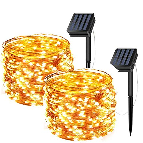 Chipark Solar String Lights, 2 Pack Solar Powered Fairy String Lights 200 LED 66ft 8 Modes Waterproof Outdoor Solar Garden Lights Copper Wire Lights for Party Wedding Patio Yard Bedroom (Warm White)