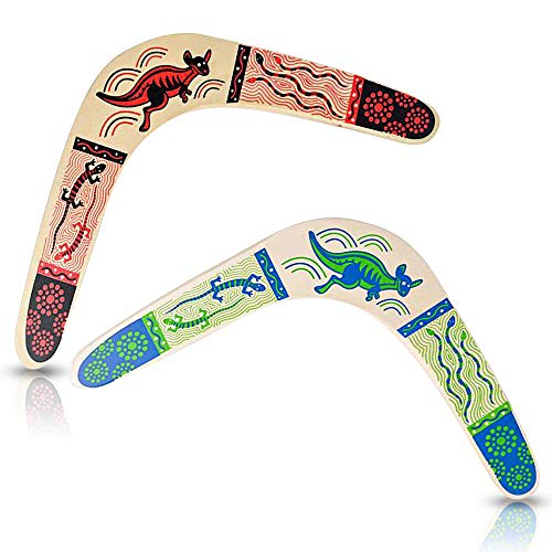 ArtCreativity Wooden Boomerangs, Set of 2, Classic Returning Boomerangs with Colorful Artwork, Fun Outdoor Toys for Camping, Backyard, Picnic, Best Gift Idea for Boys and Girls