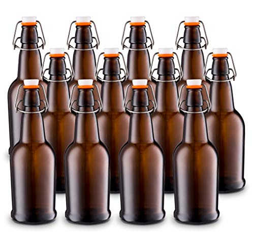 Home Brewing Glass Beer Bottle with Easy Wire Swing Cap & Airtight Rubber Seal -Amber- 16oz - Case of 12 - by Tiabo
