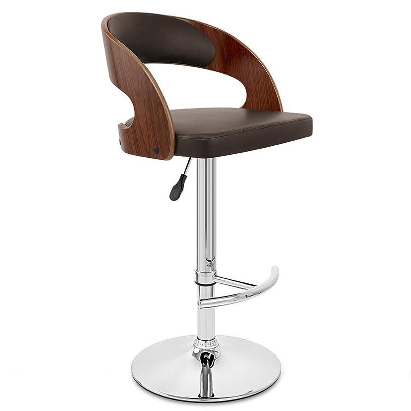 と闘う拮抗する動的Yxsd クルミの木製の終わりの調節可能なカウンターの高さのバースツール、足台が付いているサロンスツールの回転肘掛け椅子、木製の背部残りが付いているクロム鋼の腰掛けのマッサージの顔の鉱泉の腰掛け椅子(PUの革クッション) (Color : Brown)