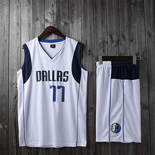 XXMM Niño Adulto NBA Dallas Mavericks # 77 Luka Doncic Conjunto De Camiseta De Baloncesto, Camisetas De Verano, Camiseta Y Pantalones Cortos De Uniforme De Baloncesto,Blanco,2XS(Child)