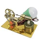 Likecom Stirling Motor Set de modelo, motor de un cilindro, modelo Science Experiment Kit pequeño de producción (color al azar) – Dorado