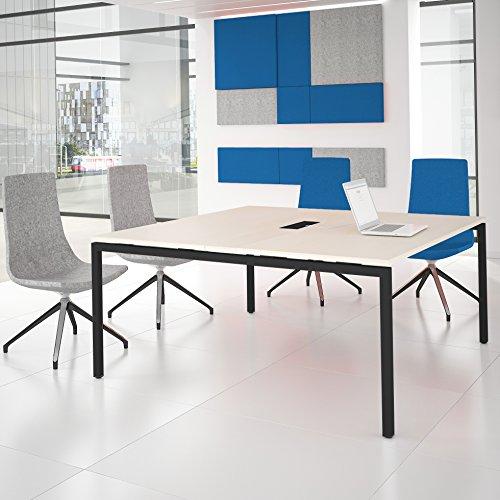 Weber Büroleben GmbH NOVA Konferenztisch 160x164cm Ahorn mit ELEKTRIFIZIERUNG Besprechungstisch Tisch, Gestellfarbe:Anthrazit