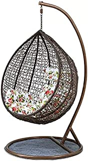 Comfortable Hanging Chair Outdoor Patio Swing Hanging (Egg Nest Shape) Brown (Random Cushion) YL3-314