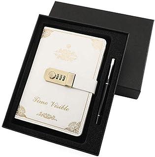 ノート 詰め替え可能トラベラーズノート、男性&女性用レザージャーナルノート、書くのに最適、ギフト、旅行者、5.2'X 7.8 'インチ メモ帳 (Color : White)