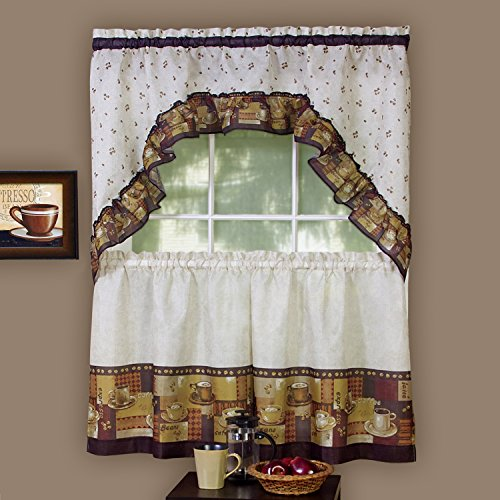"""Sweet Home Collection 3 Piece Kitchen Curtain Set Classic Design with Tier Pair and Swag 36"""", Coffee"""