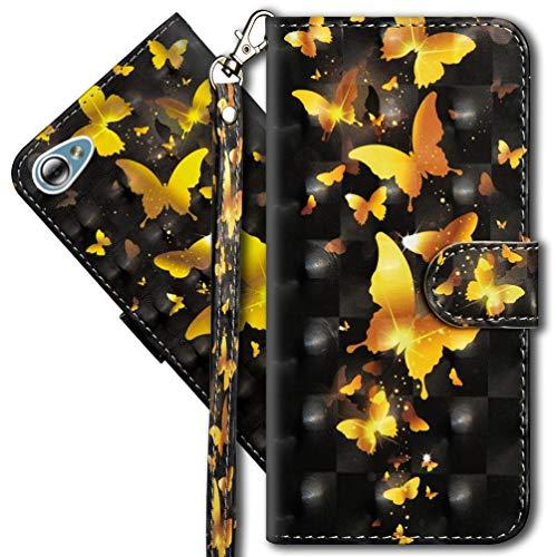 MRSTER LG Q6 Handytasche, Leder Schutzhülle Brieftasche Hülle Flip Hülle 3D Muster Cover mit Kartenfach Magnet Tasche Handyhüllen für LG Q6. YX 3D - Golden Butterfly