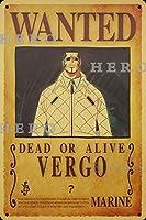 海賊アニメVERGO さびた錫のサインヴィンテージアルミニウムプラークアートポスター装飾面白い鉄の絵の個性安全標識警告バースクールカフェガレージの寝室に適しています