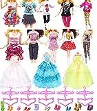 """Hey~Yo Puppenkleidung für Barbie, 11.5 """"Puppe Zubehör 33 Pcs-Enthalten 3 Stück Hochzeit Kleid + 10 Set Mode Freizeitkleidung + 10 Kleiderbügel + 10 Paar Schuhe -"""