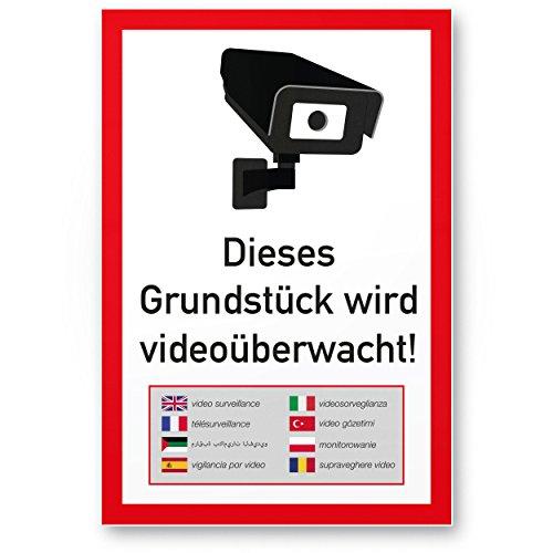 Grundstück Videoüberwacht mehrsprachig Kunststoff Schild (20 x 30 cm) - Achtung/Vorsicht Videoüberwachung - Hinweis/Hinweisschild Videoüberwacht - Warnschild/Warnhinweis Videoüberwachung