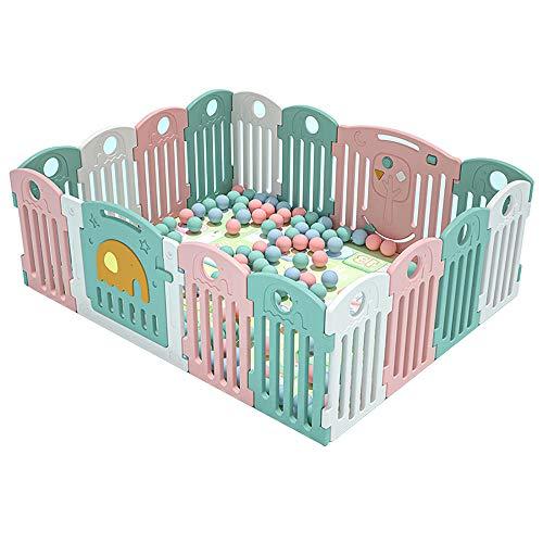 NQAZ Parque para bebés Barrera de Seguridad para bebés Valla para niños Centro de Juegos Interior con Puerta de Juego con Cerradura y Almohadillas de Goma antideslizantes-16 Piezas