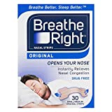 Breathe Right Breathe Right Small/Medium Nasal Congestion and Snoring Aid Strips, Original 30s