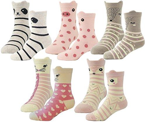 HzCojulo Kids Toddler Big Little Girls Fashion Cotton Crew Cute Socks -5 Pairs Gift Set,Multicolor-BOV,Shoe size 13-3.5/L/7-10 Years