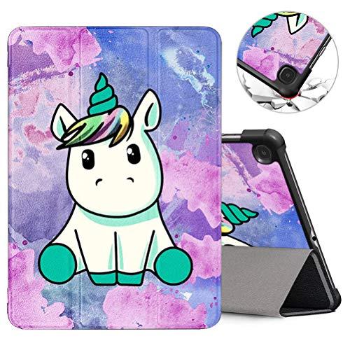 ZhuoFan Cover per Samsung Galaxy Tab S6 Lite 10.4 Pollice con Funzione Stand, Ultra Sottile Trifold Flip Case Custodia PC e PU Pelle con Print Pattern, Supporto Auto Sonno/Sveglia, Unicorno