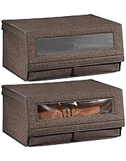 mDesign - Set med 2 stapelbara förvaringslådor för skor – Tyglådor med lock och genomskinligt vinylfönster – Skolåda i 2-pack – Espresso