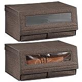 mDesign Juego de 2 cajas para zapatos de fibra sintética (grandes) – Cajas apilables con ventana, cierre adhesivo y tapa abatible – Prácticas cajas organizadoras para armarios – color café