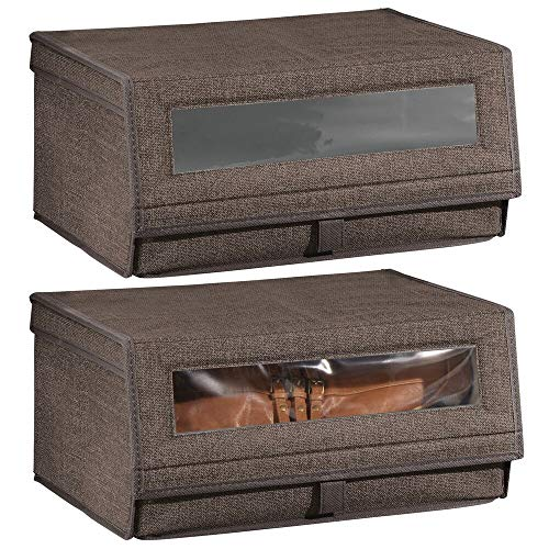 mDesign Juego de 2 cajas para zapatos de fibra sintética (grandes) -...