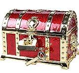 Aoakua 鍵付き 宝箱 アクセサリーケース ジュエリーボックス トレジャーボックス (ゴールドレッド)