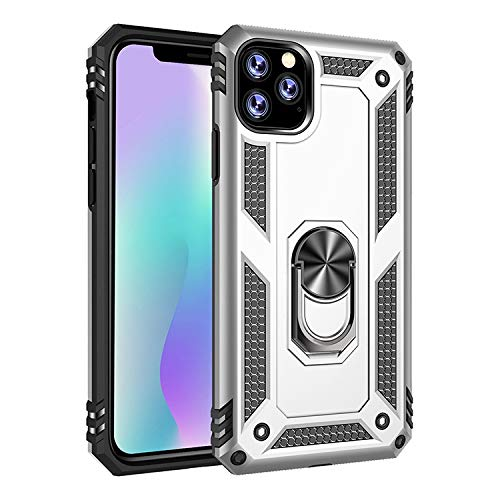 Tanxinxing for iPhone 11 Pro Max (6,5 Inch) Neue Dual Layer Hybrid Stoß- Schutzhülle mit einem 360 Grad-Metalldreh Finger-Ring-Halter (Farbe : Silber)