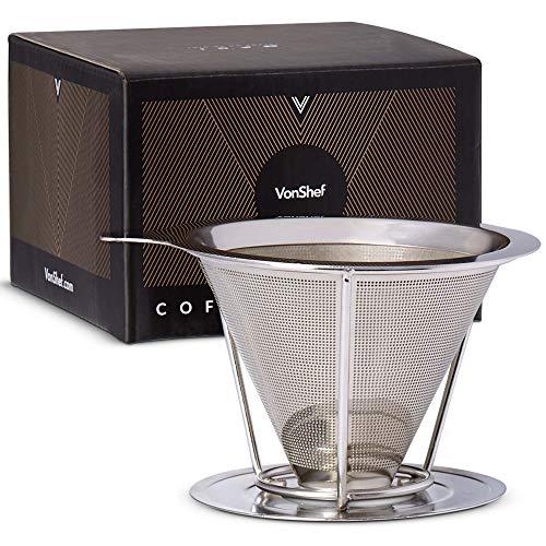 VonShef Kaffee Dripper Kaffeefilter Filterhalter – Feinmaschiger Trichter aus Edelstahl – Coffee Dripper Handfilter – Permanentfilter Dauerfilter