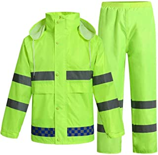 BGROESTWB Snow Rainwear Reflective Raincoat Traffic Duty Raincoat Outdoor Riding Fluorescent Yellow Coat Riding Rainproof ...