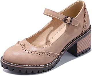 Veveca Women Retro Round Toe Buckle Strap Chunky Mid Heel Vintage Dress Shoes Mary Jane Oxford Pump Shoes