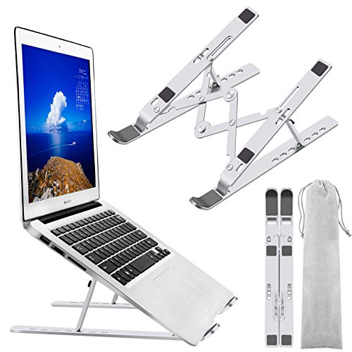 """Laptop Stand, Laptop Holder Riser Computer Stand, Adjustable Aluminum Foldable Portable Notebook Stand, Compatible with MacBook Air Pro, HP, Lenovo, Dell, More 10-15.6"""" Laptops and Tablets (Silver)"""