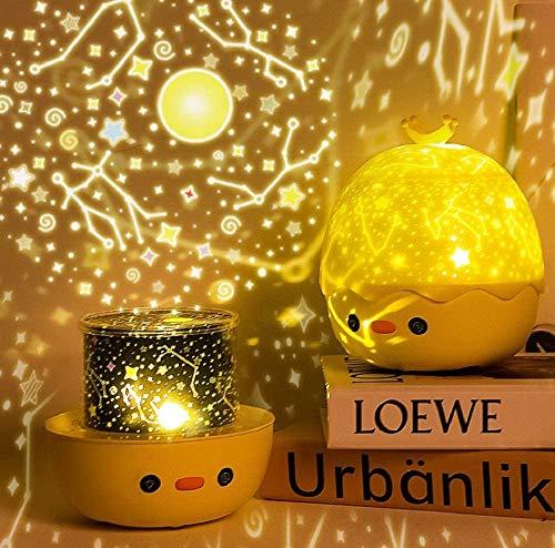 FemKey Lampara Proyector Infantil, Lámpara Nocturna LED para Bebé 6 Película de Proyección con Mando Distancia 8 Música 360 Rotación, Proyector de Estrella Regalo para Niños.