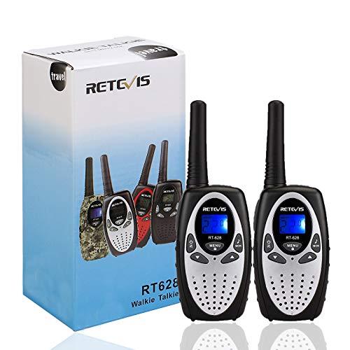 Retevis RT628 Walkie Talkie Niños PMR446 8 Canales 10 Tonos de Llamada VOX Bloqueo de Teclado Walkie Talkie Juguete Regalo para Niños (Plata, 1 par)