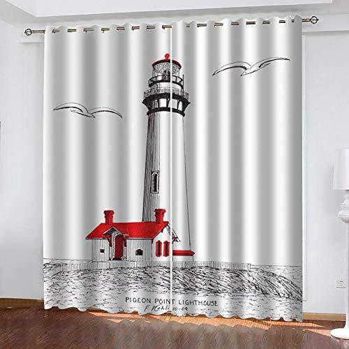 Ageeseso® Vorhang Blickdicht Kinderzimmer - Thermo Gardinen Blickdicht Einfacher handgezeichneter Leuchtturm Weiß Vorhänge für Schlafzimmer Dekoschal mit Ösen,Polyester, 2er Set 130(W) x160(H) cm Hal