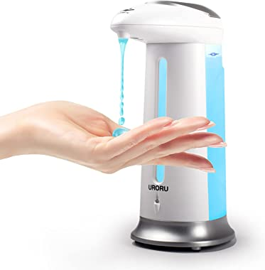 URORU ソープディスペンサー 自動 電池式 ソープディスペンサー 330ml 自動誘導 非接触式 アルコール対応 洗面所/キッチン/学校などに適用 日本語取扱説明書付き