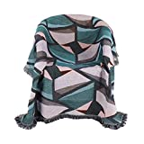 PHNAM Geometric Splicing Throw Blanket with Fringe for Couch 51x71 Inches Bed Soft Decorative Cozy Cotton Woven Knit Warm Bed Throws Reversible for Chair, Sofa, Living Room, Bedroom