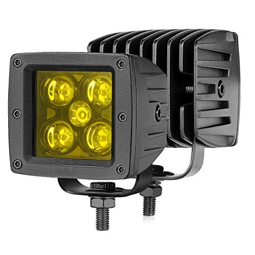 Auto Power Plus LED Cubes, 2Pcs 50W Amber LED Pod Lights 3 Inch LED Driving Lights Square LED Work Light Spot Off Road LED Lights Yellow LED Light Bar Fog Lights for Truck SUV ATV UTV Marine