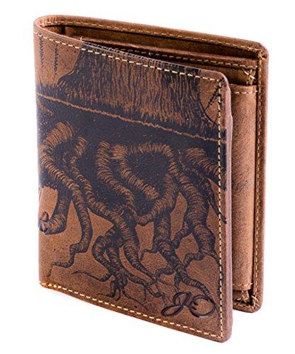Geldbörse Leder Braun Baum Natur Motiv - Geldbeutel naturbelassen Hochformat 10 x 12,5 x 2,5 cm JOriginal