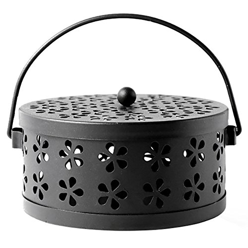 MyLifeUNIT Mosquito Coil Holder, Retro Portable Mosquito Incense Burner for Home and Camping (Black)