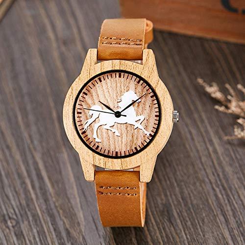 LOPIXUO Reloj Vintage de imitación de Madera, Caballo, Hombre, Mujer, imitación, Reloj de Pulsera de Madera, Correa de Cuero Suave, Reloj de Pulsera de Cuarzo para Hombre, Caballo para Mujer